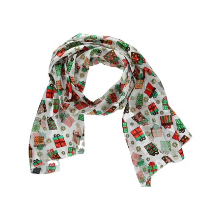 Size one size Women's Christmas Holiday Present Print Lightweight Scarf, White](Holiday Scarf)