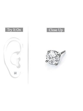 FineJewelryVault UBMER18WH4RD025D-101 Mens 18K White Gold : Round Diamond Stud Earring - 0.25 CT. TW.