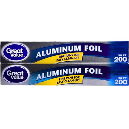 Great Value Aluminum Foil, Twin Pack, 200 sq ft