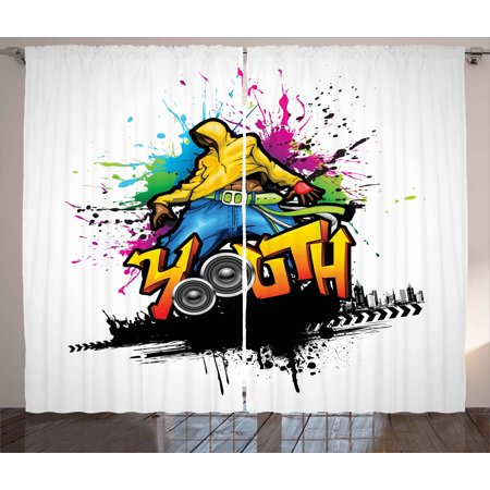 Youth Curtains 2 Panels Set, Young Man Hip Hop Culture Graffiti Art and Street Culture Performer Colorful Grunge, Window Drapes for Living Room Bedroom, 108W X 63L Inches, Multicolor, by Ambesonne ()