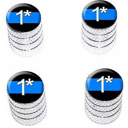 Thin Blue Line One Asterisk Tire Rim Wheel Aluminum Valve Stem Caps, Multiple Colors