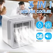 Portable Air Conditioner Fan Personal Mini Air Cooler, 3 in 1 USB Evaporative Coolers LED Table Fan , 3 Speeds, Table Fan for Home Office