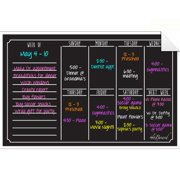 AlaBoard Black Fluorescent Dry Erase Weekly Calendar Decal