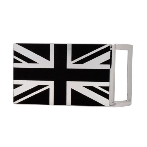 Buckle Rage Union Jack British Flag Rectangle Belt Buckle, POLISHED SILVER, S1014-139-SIL