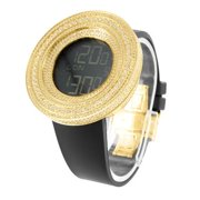 Mens Yellow Gold Tone Watch Big XL Bezel 53 MM Lab Created Cubic Zirconias Jojino Steel Back
