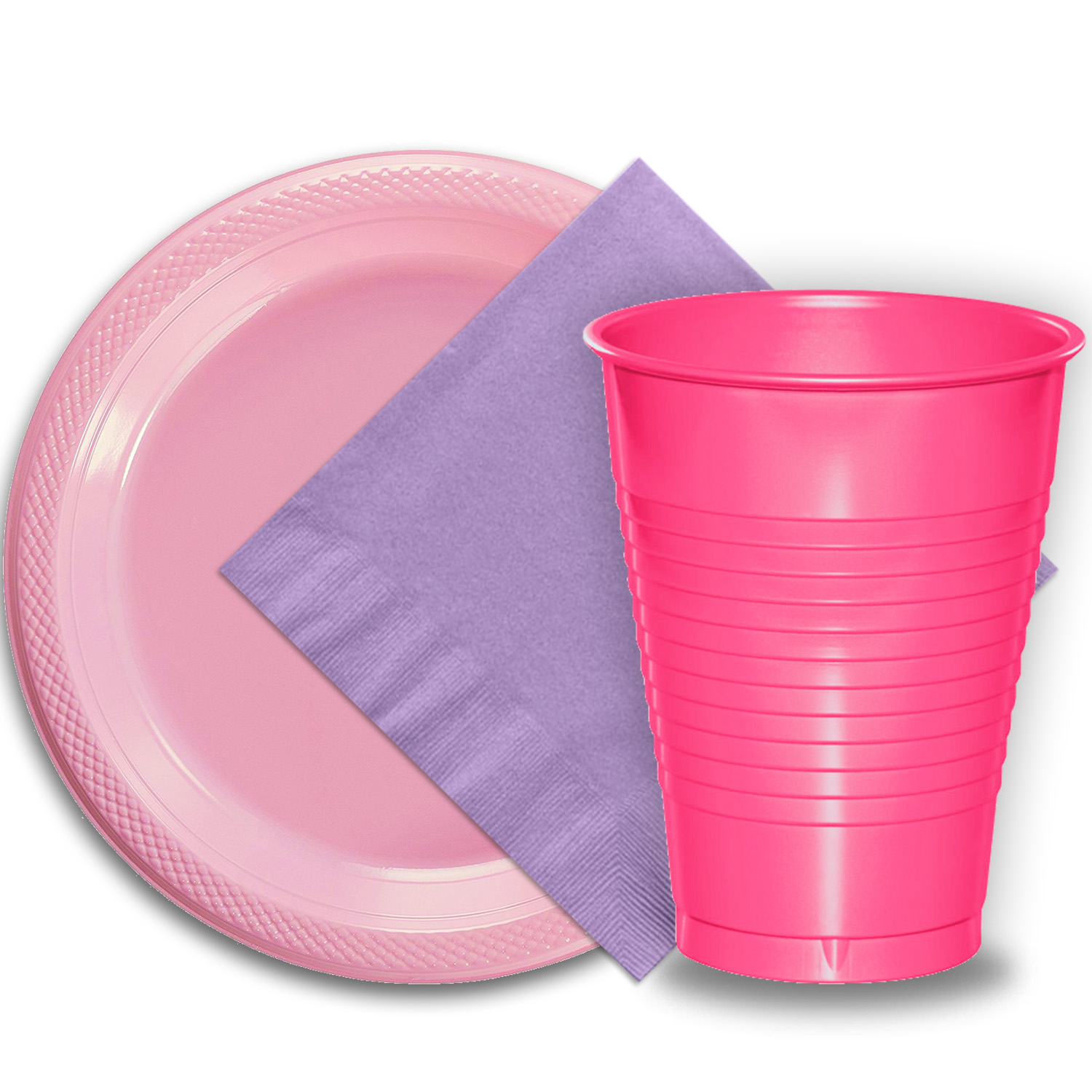 """50 Pink Plastic Plates (9""""), 50 Hot Pink Plastic Cups (12 oz.), and 50 Lavender Paper Napkins, Dazzelling Colored Disposable Party Supplies Tableware Set for Fifty Guests."""