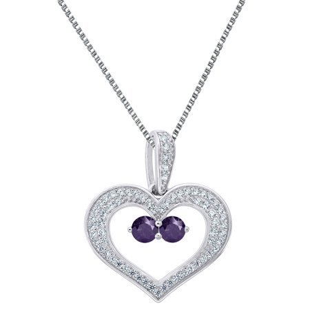 2 Solitaire Purple Cz Heart Pendant Sterling Silver Forever Us Charm 18   Free Chain