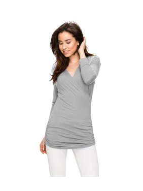 b94161966f Product Image Womens 3 4 Sleeve Wrap Front Drape Top M Heather Grey