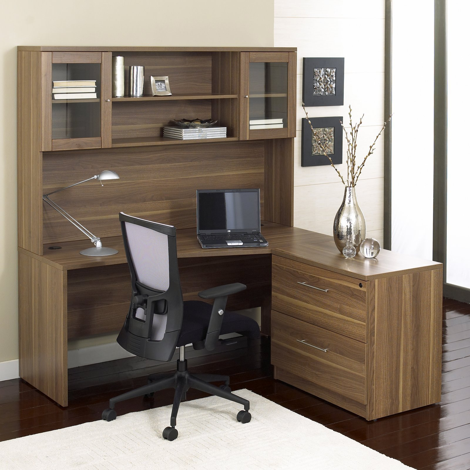 Jesper Office 100 Series L Shaped Desk With Hutch And Lateral File   Cherry
