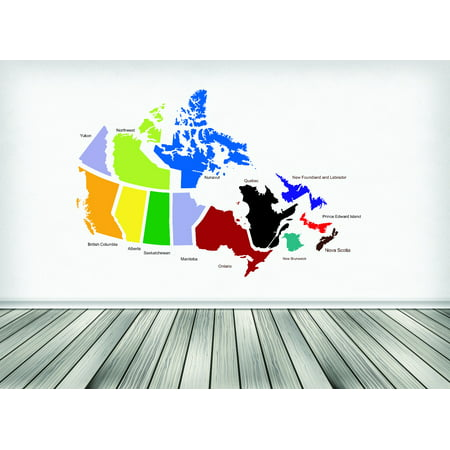 custom wall decal sticker : canadian provinces canada map 20x30