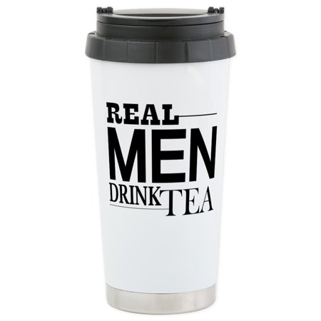 CafePress - Real Men Drink Tea Travel Mug - Stainless Steel Travel Mug, Insulated 16 oz. Coffee Tumbler ()
