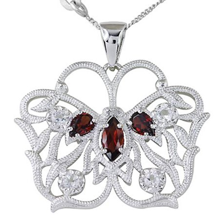 2.13 Ct Marquise Natural Red Garnet Stone Jewelry 925 Sterling Silver Pendant