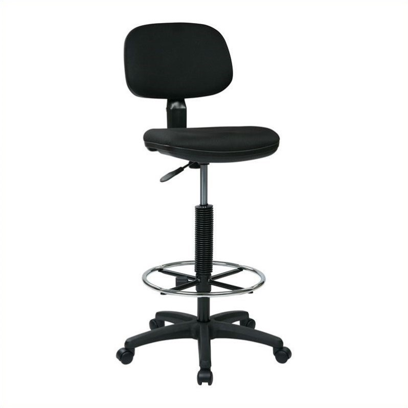 Office Star Mesh Screen Back Armless Task Chair with Padded Vinly Seat Black Office Star--DROPSHIP EM2910V