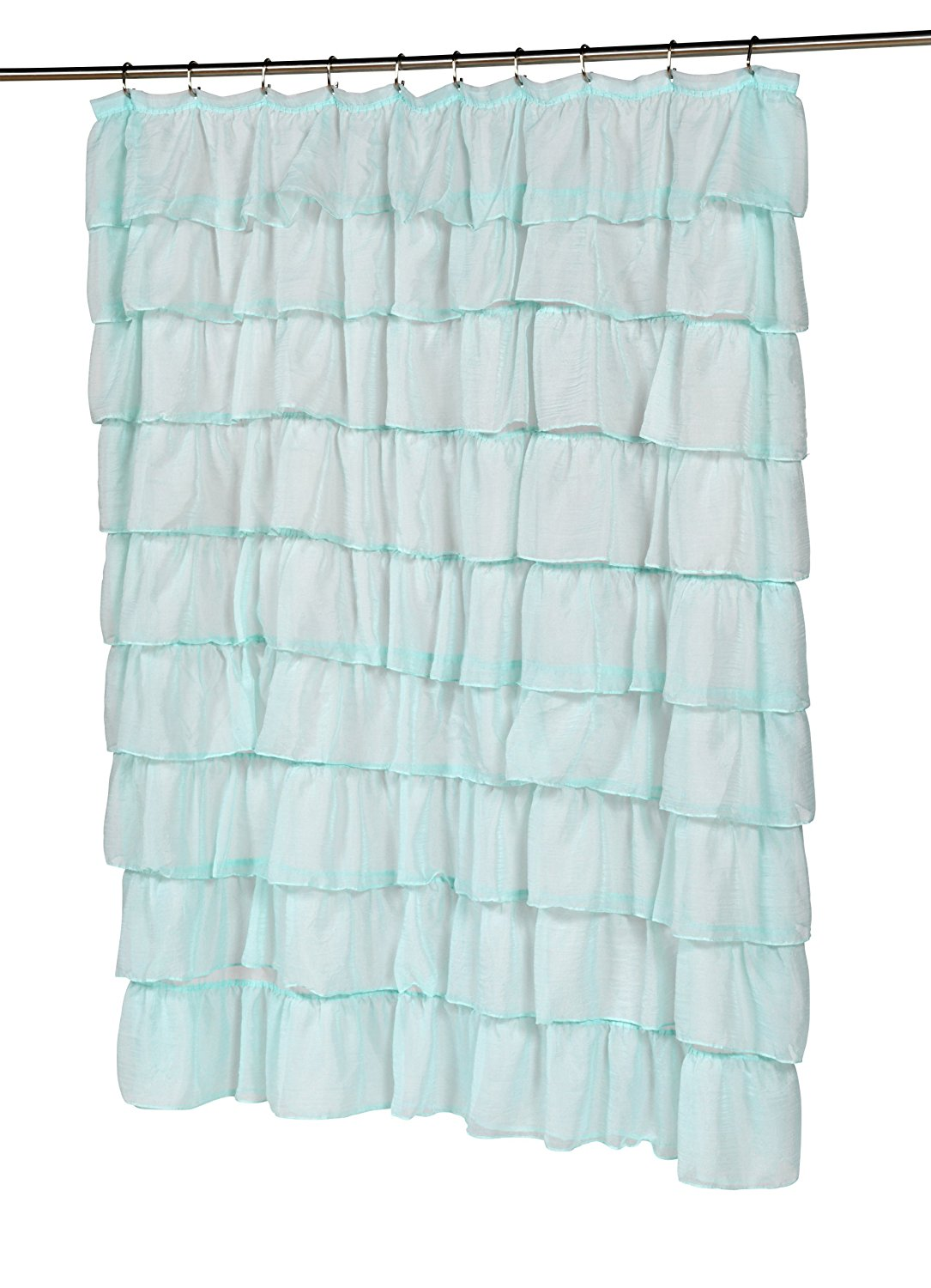 Carmen Blue Ruffled Tier 100 Polyester Fabric Shower Curtain Size