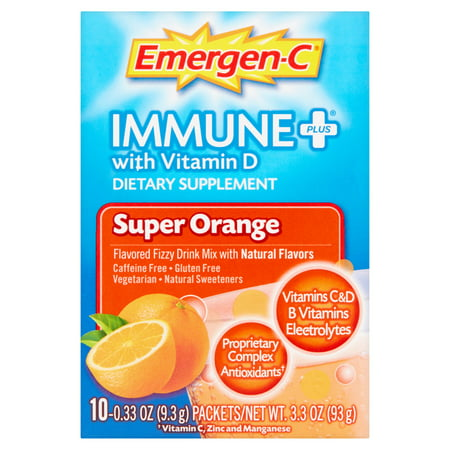 Emergen C Immune Plus Super Orange Dietary Supplement Powder  0 33 Oz  10 Ct