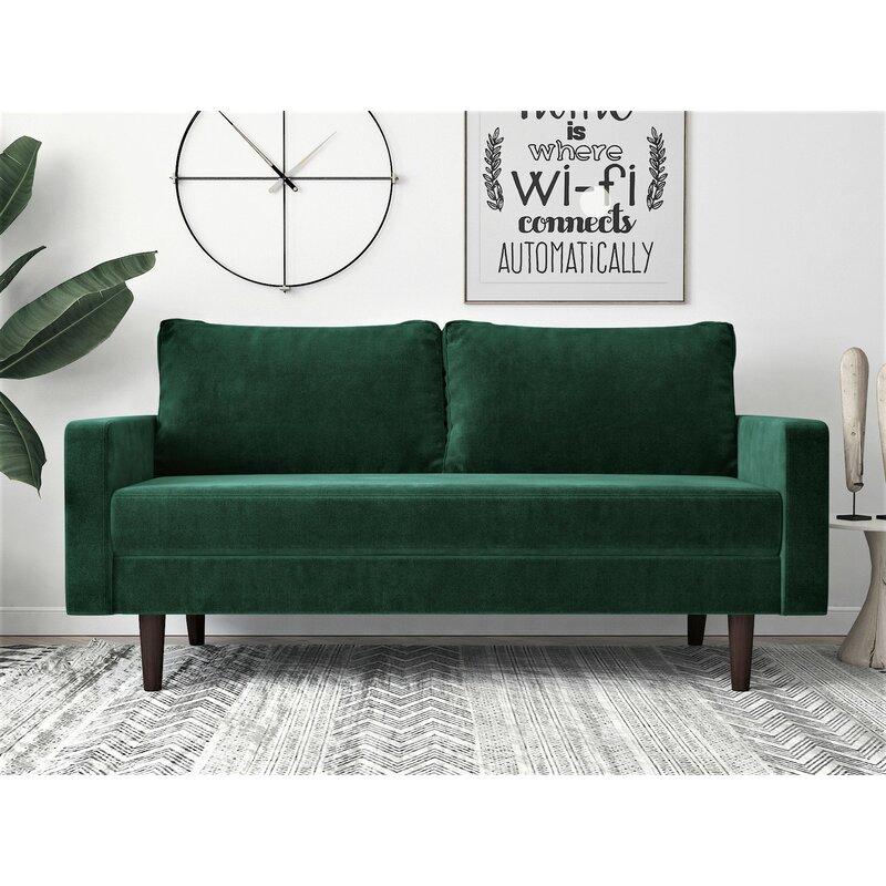 Peryman Velvet 71 6 Square Arm Sofa Walmart Com Walmart Com