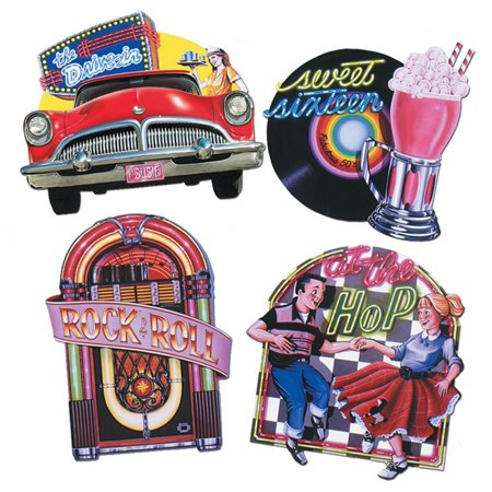 Club Pack of 12 Vintage Style 50's Themed Party Cutout Decorations 14