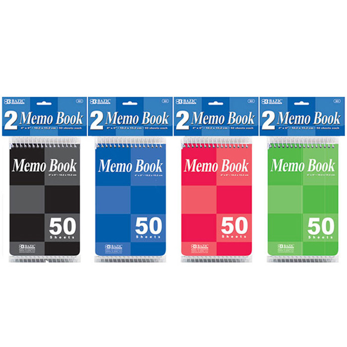 "BAZIC 50 Ct. 4"" X 6"" Top Bound Spiral Memo Books (2/Pack), Box of 24"