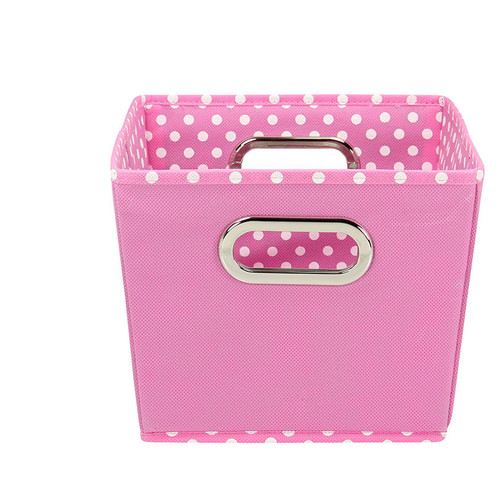 Household Essentials Small Decorative Storage Bins, 2pk, Pink and Mini Dot