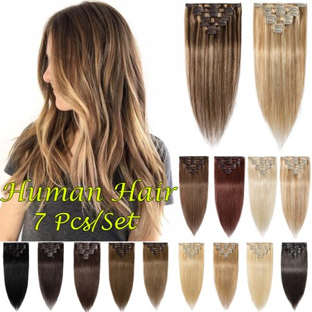 S-noilite 7 Pcs/Set Clip In Human Hair Extensions Women Girls Long Straight Full Head Human Hair Extension 7 pcs Dark (Best Human Hair Clip In Extensions)