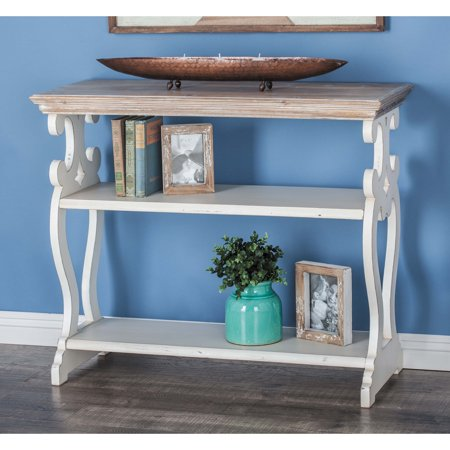 Decmode - Farmhouse 32 x 38 inch wooden decorative console table