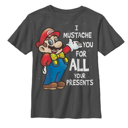 Nintendo Boys' Christmas Mario Mustache For Presents T-Shirt - Communion Presents For Boys