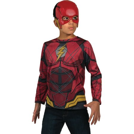 Child's Boys Justice League The Flash Costume Shirt And Mask