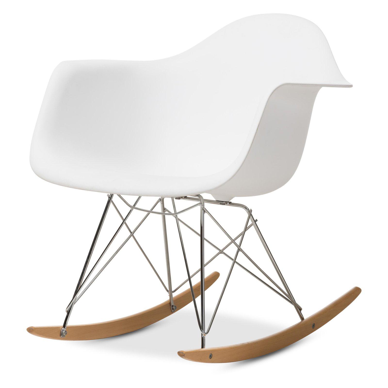 White Plastic Rocking Chair by Baxton Studio