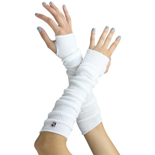 Luxury Divas White Tight Fit Long Arm Warmers With Thumb Hole