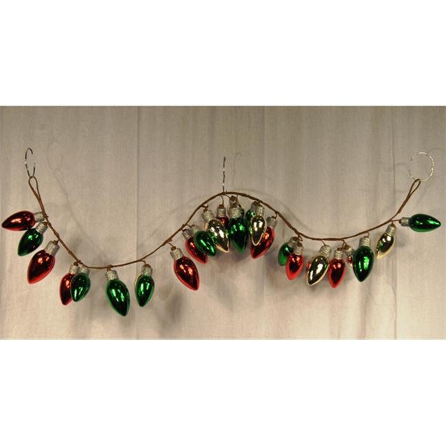 Queens of Christmas WL-BGAR-04-BULB-GRG 4 ft.  Green  Red and Gold Light Bulb Garland