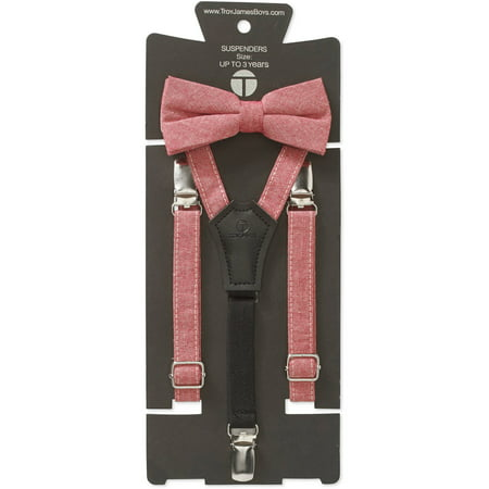 Genevieve Goings Collection Boys Red Linen Bow Tie and Suspenders 2 pc -