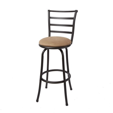 Mainstays 29 Ladder Back Barstool Black Finish Beige