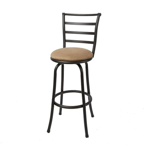 "Mainstays 29"" Ladder Back Barstool, Black Finish, Beige"