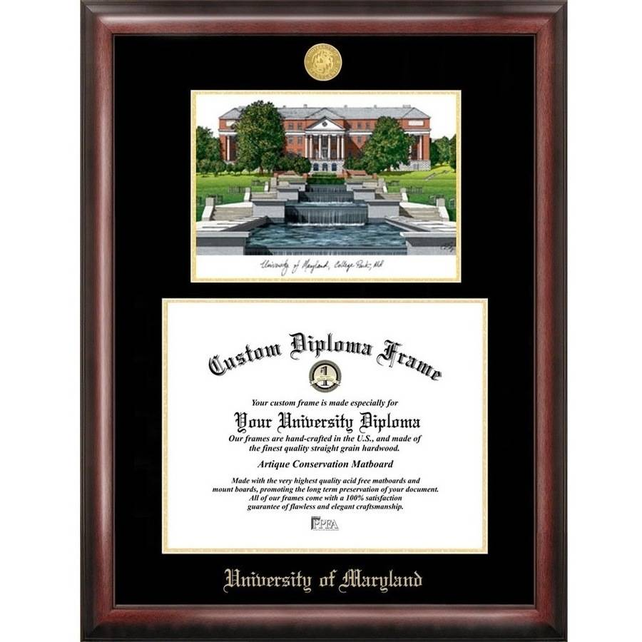 """University of Maryland 13"""" x 17"""" Gold Embossed Diploma Frame with Campus Images Lithograph"""