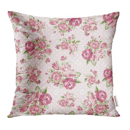 - YWOTA Green Flower Beautiful Color Rose Pattern on Pink Colorful Floral Romantic Oriental Pillow Cases Cushion Cover 20x20 inch