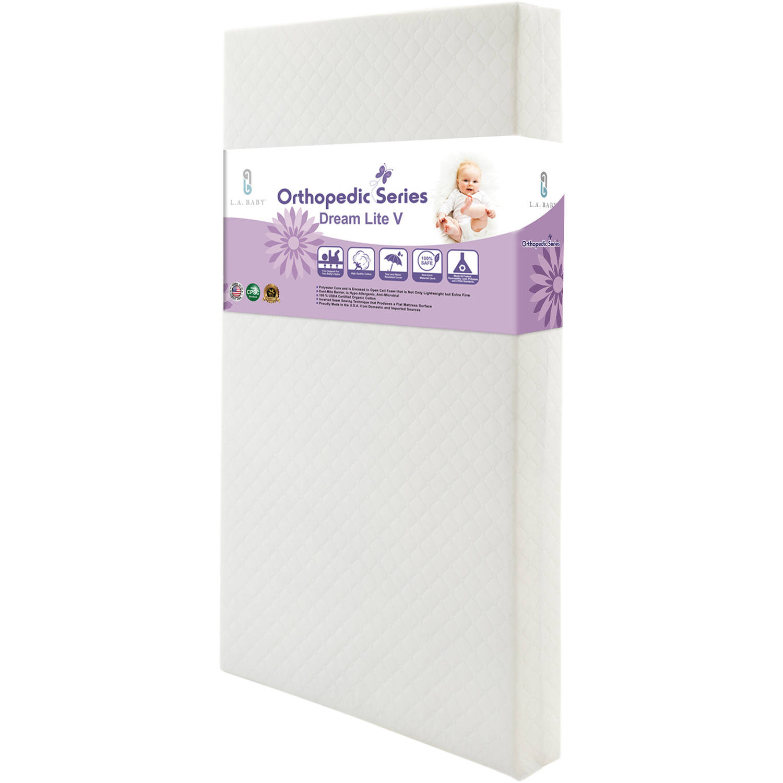LA Baby Dream Lite V Crib Mattress with Organic Cotton Layer and Seamless Edge, White by L.A. Baby