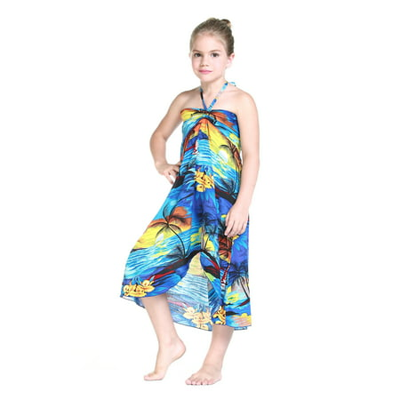- Girl Hawaiian Butterfly Dress in Blue Sunset Size 4