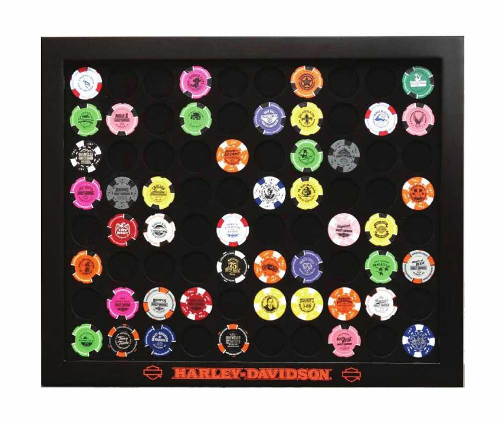 Harley-Davidson Black Poker Chip Collector's Frame, Holds 80 Poker Chips 6980, Harley Davidson by Dart World Inc.