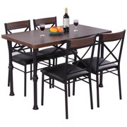 costway 5 piece dining set table and 4 chairs wood metal kitchen breakfast furniture new - Metal Kitchen Table