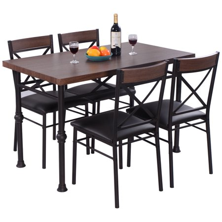 Costway 5 Piece Dining Set Table And 4 Chairs Wood Metal Kitchen ...