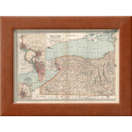 Plate 71. Map of New York State Framed Giclee Print Wall Art By ...