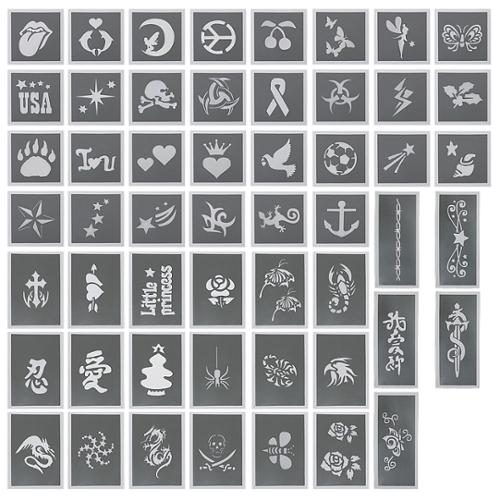 BMC 50pc Body Art Design Stencils Kit for Temporary Fashionable Glitter Tattoos