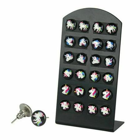 KABOER 12 Pairs/Set Unicorn Ear Stud Earrings Kids Girl Women Round Jewelry ON SALE US Girls Earrings Set