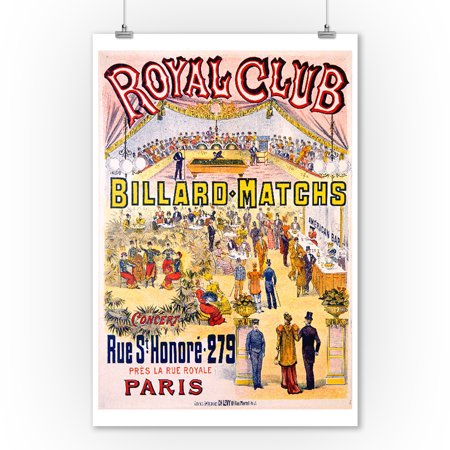 Royal Club - Billard Matchs Vintage Poster France (9x12 Art Print, Wall Decor Travel Poster)