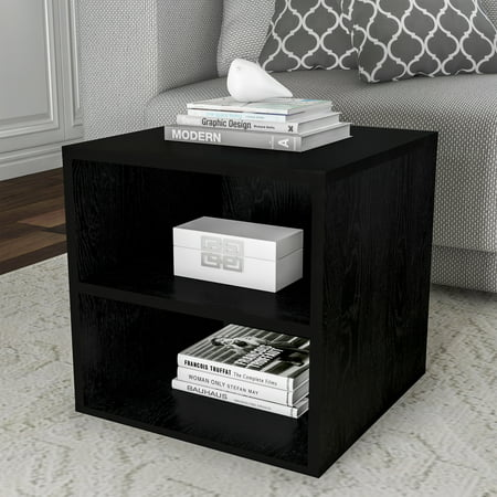 Lavish Home End Table  Stackable Contemporary Minimalist Modular Cube Accent Table Double Shelves (Cube Accent Table)