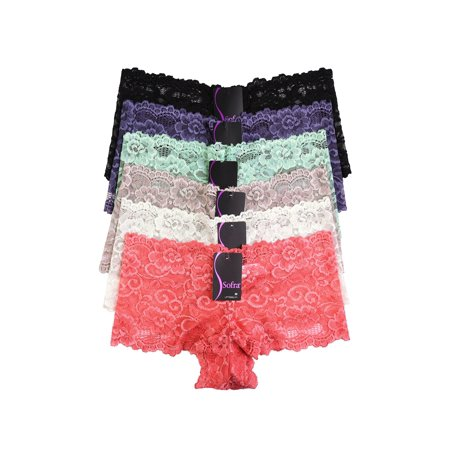 6 Pack of Women Hipster Panties Floral Stretch Lace Bikini Checky Back Boyshorts Underwear