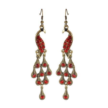 - Pair Red Rhinestone Decor Metal Peacock Fish Hook Earrings for Woman