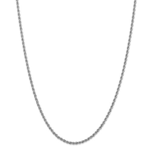 14k White Gold 16in 2.5mm Handmade Regular Rope Necklace Chain by Jewelrypot
