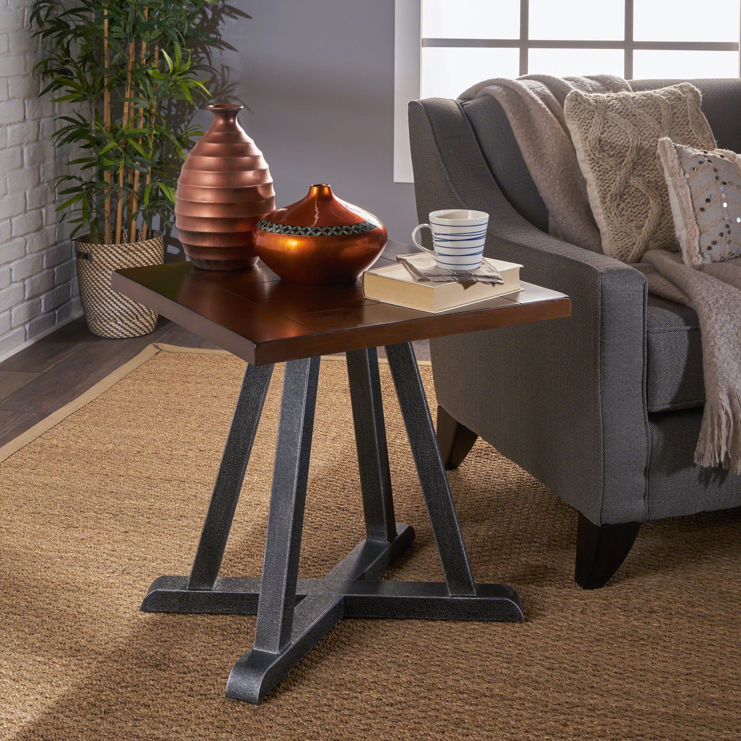 Noble House Brandon Industrial Faux Wood Overlay End Table With Iron Frame, Dark Brown, Antique Black