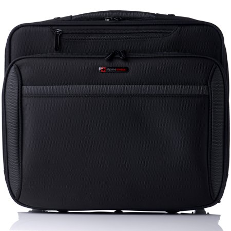 "Alpine Swiss Rolling Briefcase Wheeled Overnight Carry on Bag up to 15.6"" Laptop Black One (Lowe Alpine At Lightflite Carry On 40 Review)"
